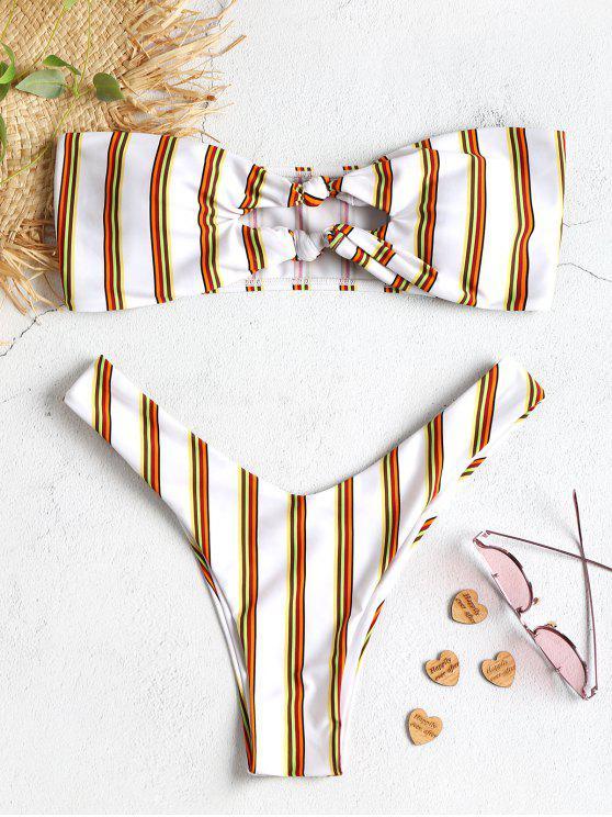 Bikini Bandeau Rayé en Ensemble et à Découpes Nouées - Blanc S