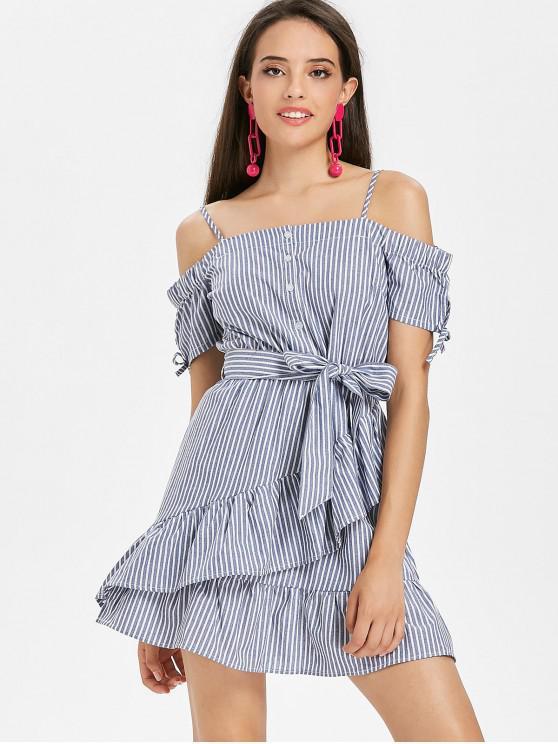 Mini vestido a rayas con hombros fruncidos con volantes - Gris Azulado M