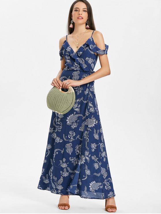 فستان بطبعات بيسلي باكتاف مكشوفة - أزرق S