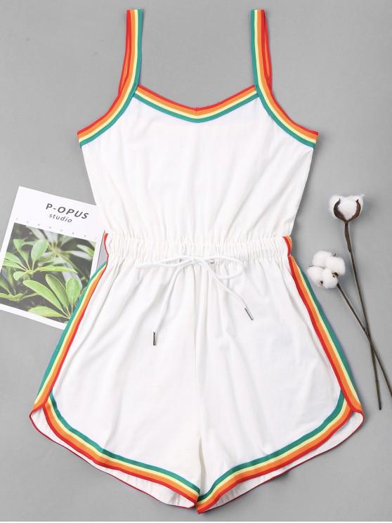 buy Rainbow Trim Drawstring Cami Romper - WHITE S