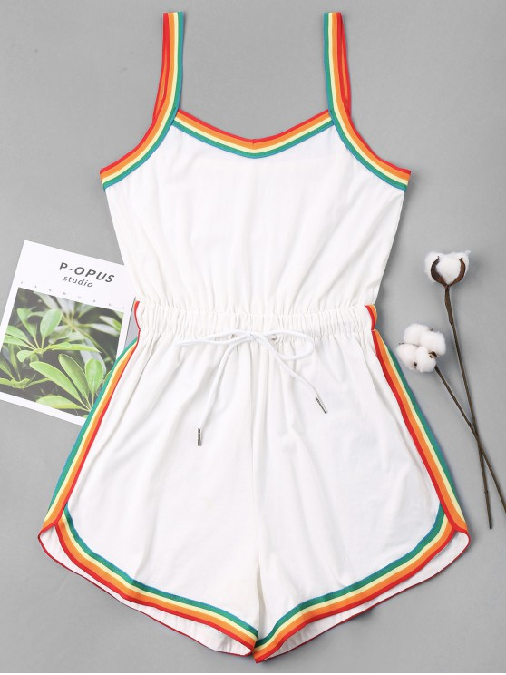 sale Rainbow Trim Drawstring Cami Romper - WHITE L
