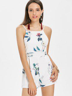 Floral Crochet Trim Cami Playsuit - White
