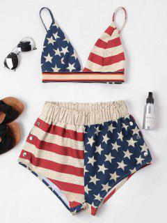 Amerikanische Flagge Cami Shorts Set - Multi-a Xl