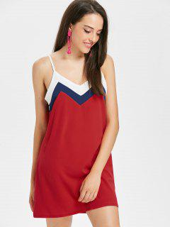Contrast Neckline Panel Shift Slip Dress - Fire Engine Red M