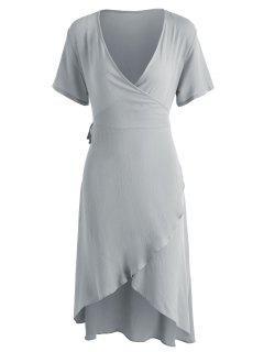 Asymmetrical Wrap Midi Dress - Gray Cloud L