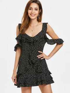 Dotted Criss Cross Ruffles Dress - Black M
