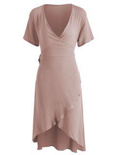 Asymmetrical Wrap Midi Dress - Khaki Rose L