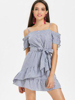 Ruffled Cold Shoulder Striped Mini Dress - Blue Gray M