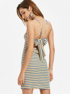 Knotted Striped Cami Dress - Golden Brown S