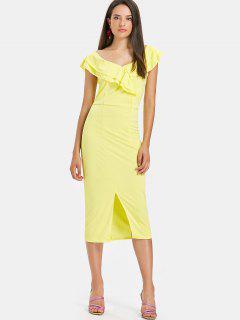 Slit Ruffles Midi Dress - Yellow S