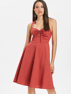 Vestido A Media Pierna De La Línea Empire Waist - Castaño Rojo M