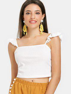 Ruffle Straps Ribbed Tank Top - White S