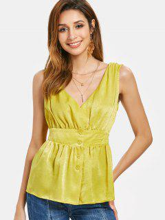Button Front Plunge Tank Top - Yellow S