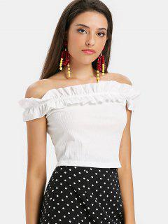 Off Shoulder Ruffles Tee - White S
