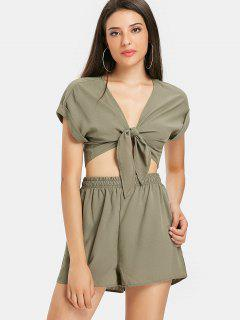 Tie Front Plunge Shorts Set - Army Green L