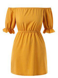 Off Shoulder Plus Size Polka Dot Dress - Bee Yellow 4x