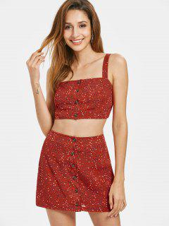 Button Up Dotted Skirt Set - Chestnut Red L