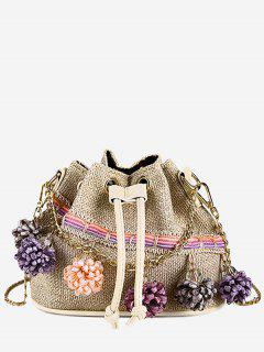 Floral Embellished String Metal Chain Crossbody Bag - Light Khaki
