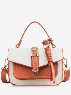 Color Block Flapped Chic Buckled Crossbody Bag With Handle - White