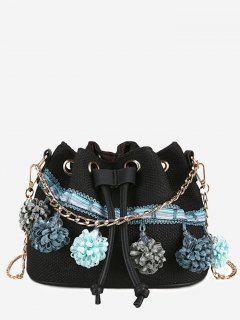 Floral Embellished String Metal Chain Crossbody Bag - Black