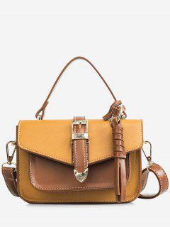 Color Block Flapped Chic Buckled Crossbody Bag With Handle - Brown