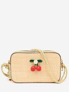 Cherry Decorated Casual Straw Rope Strap Sling Bag - Light Khaki