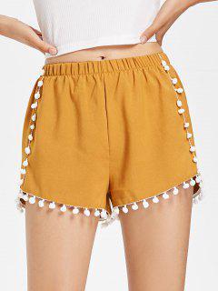 Pompoms Hem Shorts - Orange Gold L