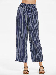 Striped Belted Pants - Cadetblue L