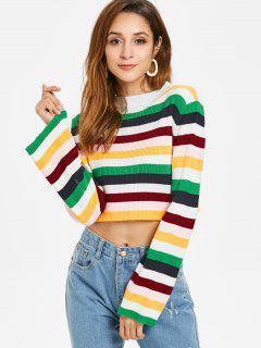 Color Block Crop Sweater - Multi L