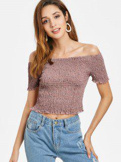 Smocked Off Shoulder Top - Lipstick Pink L