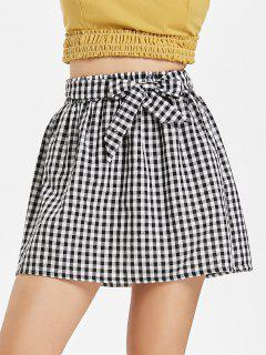Gingham Paper Bag Waist Mini Skirt - Multi L