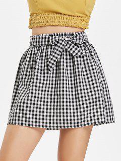 Gingham Paper Bag Waist Mini Skirt - Multi S