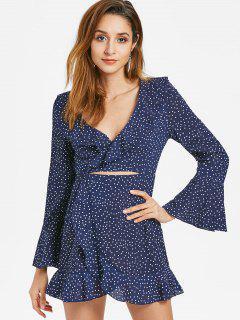 Cut Out Ruffles Dots Dress - Cadetblue M