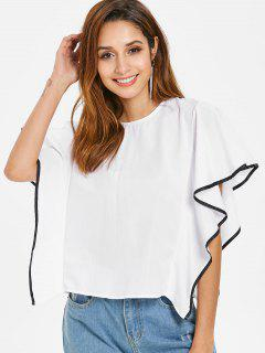 Ruffled Knotted Top - White L