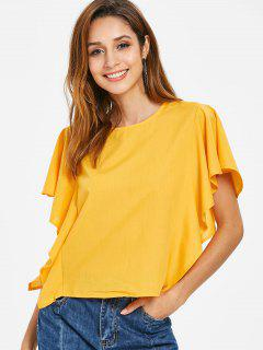 Ruffled Knotted Top - Bright Yellow M