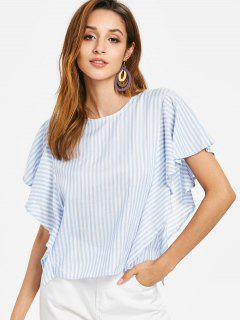 Ruffled Knotted Top - Powder Blue M