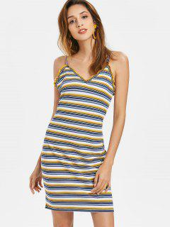 Ribbed Stripes Mini Dress - Multi M