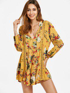 Long Sleeve Floral Crochet Trim Babydoll Dress - Mustard M