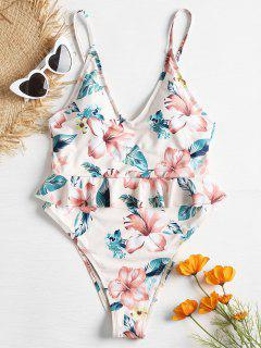 Plunge Ruffles High Cut Floral Swimsuit - Multi S