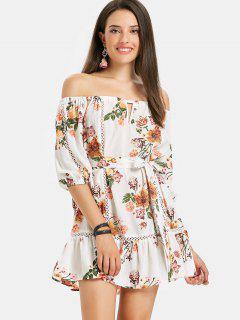 Off Shoulder Floral Flounce Beach Dress - White M
