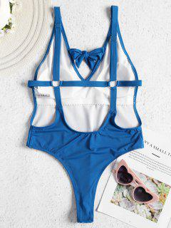 Tie Strappy Back High Cut Swimsuit - Blueberry Blue L