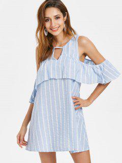 Striped Cut Out Mini Dress - Sky Blue L