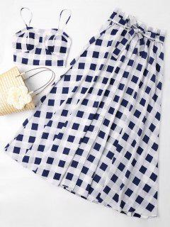 Checkered Belted Skirt Set - Midnight Blue L