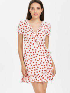 Printed Ruffles Wrap Dress - Red M