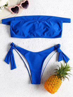 Juego De Bikini Con Lazo En El Hombro - Azul Marino M