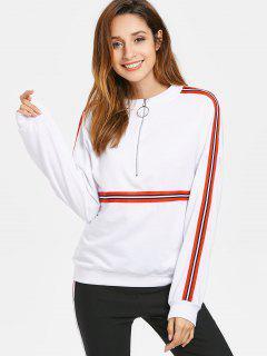 Half Zip Stripes Panel Sweatshirt - White M