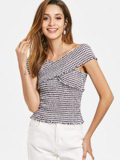 Crossover Gingham Smocked Top - Negro L