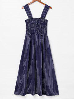 Smocked Striped Sleeveless Dress - Navy Blue M