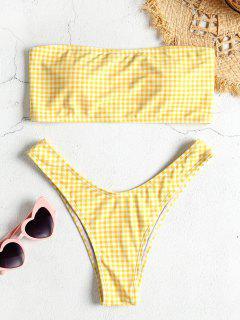 Hohe Schlitz Kariertes Bandeau Bikiniset - Gelb S