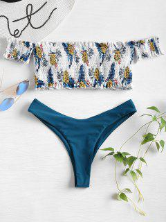 Pineapple Smocked Off The Shoulder Bikini Set - Multi S